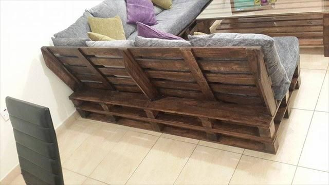 handmade living room furniture. DIY Pallet L-Shaped Sofa - Coffee Table For Living Room   99 Pallets Handmade Furniture O