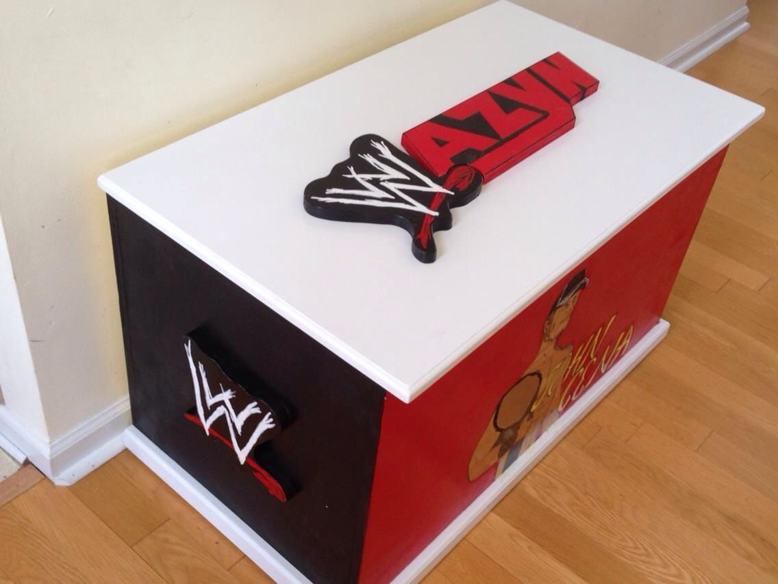 Custom painted toy box for boys