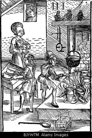 "gastronomy, kitchen, housewife with cooks during work, woodcut to ""Kuechenmeisterei"" by Peter Wagner, Nuremberg, 1486, woodcut,"