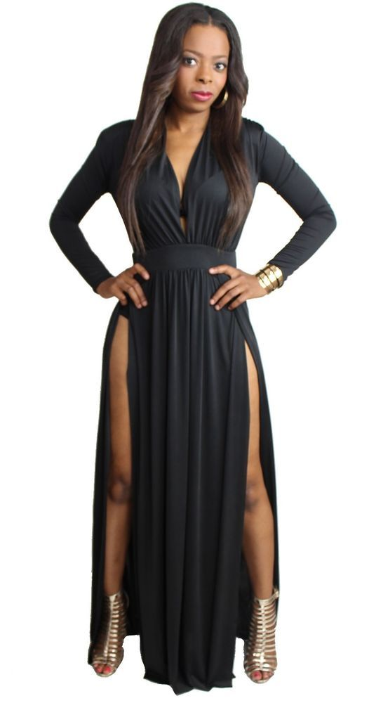 67598200359764 Plus Size Long Sleeve Deep Cleavage Plunge Maxi Dress Two High Split Slit  Skirt #SSFB #HighSplit #Casual