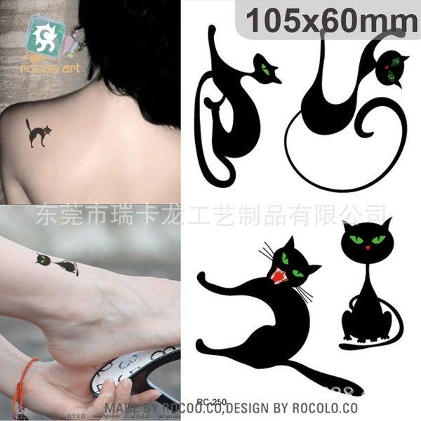Black Cat Temporary Tattoo Body Art Chest Back Abdomen