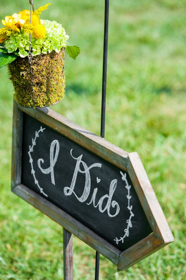 Chalkboard Ceremony Sign | Photography: Realities Photography. Read More: http://www.insideweddings.com/weddings/green-yellow-rustic-farm-wedding-in-north-carolina/500/