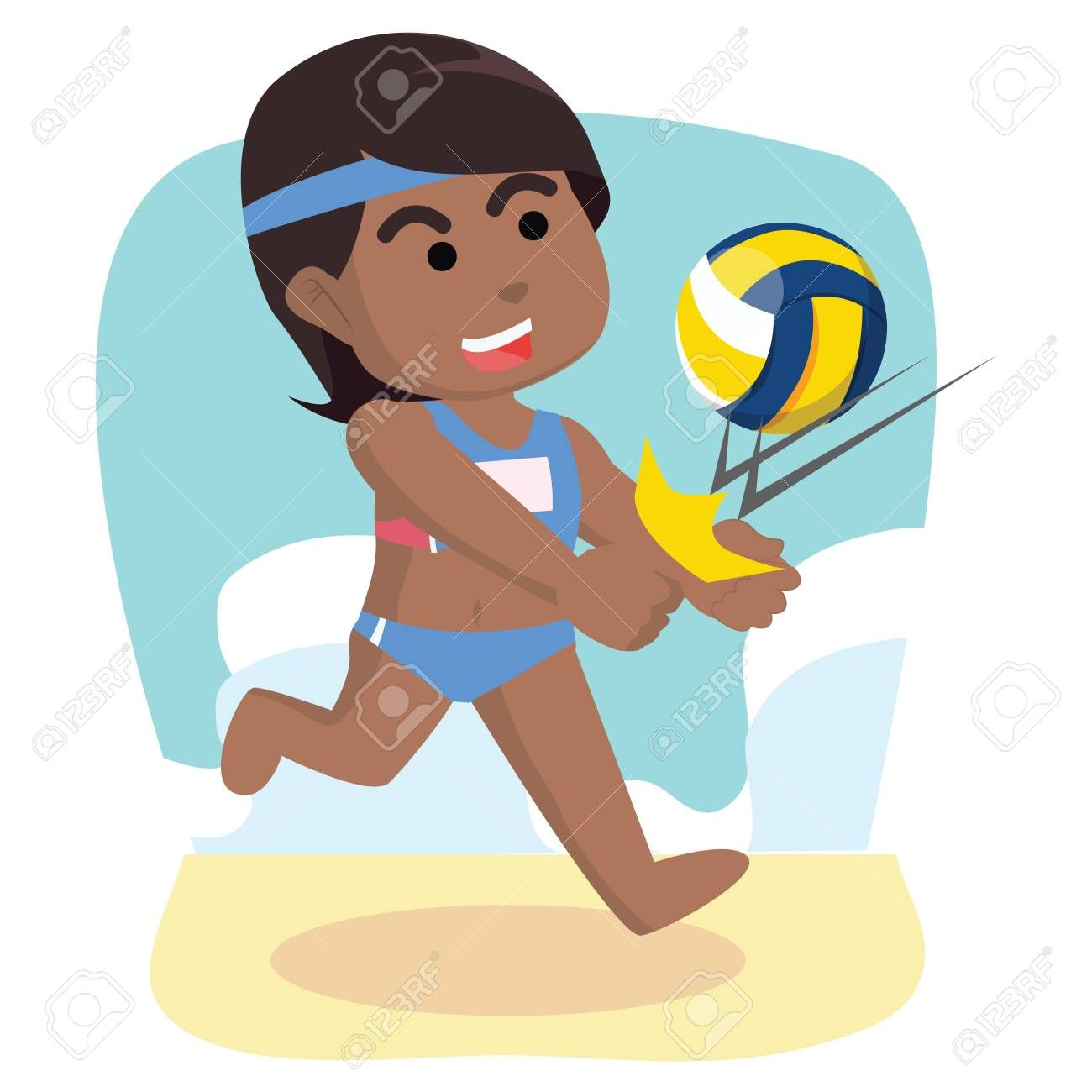 African Girl Volleyball Repelling Balla Stock Illustration Affiliate Volleyball Girl African Repelling Happy Cartoon Girl Cartoon African Girl