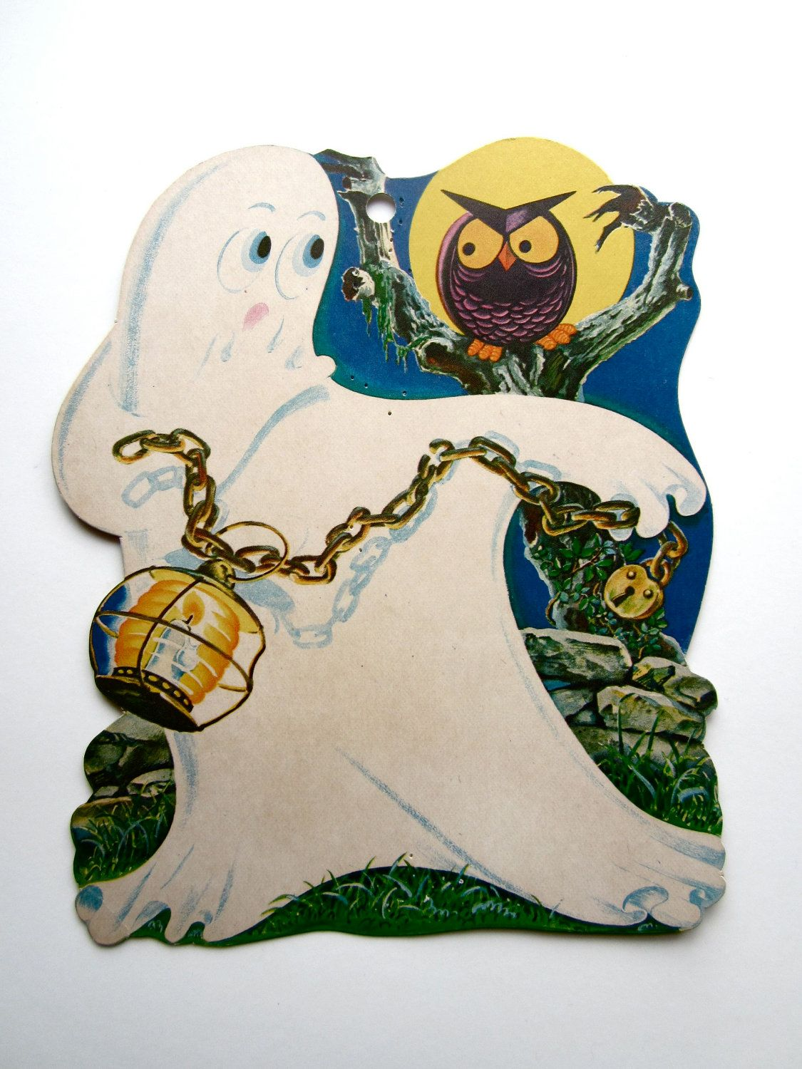 Vintage Cardboard Ghost And Owl Halloween Decoration