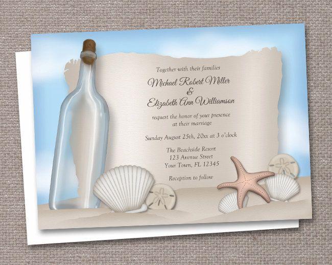 Beach Wedding Invitations and RSVP  Printed by ArtisticallyInvited