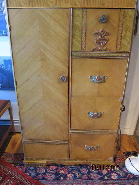 Vintage s art deco waterfall chifforobe amoire by