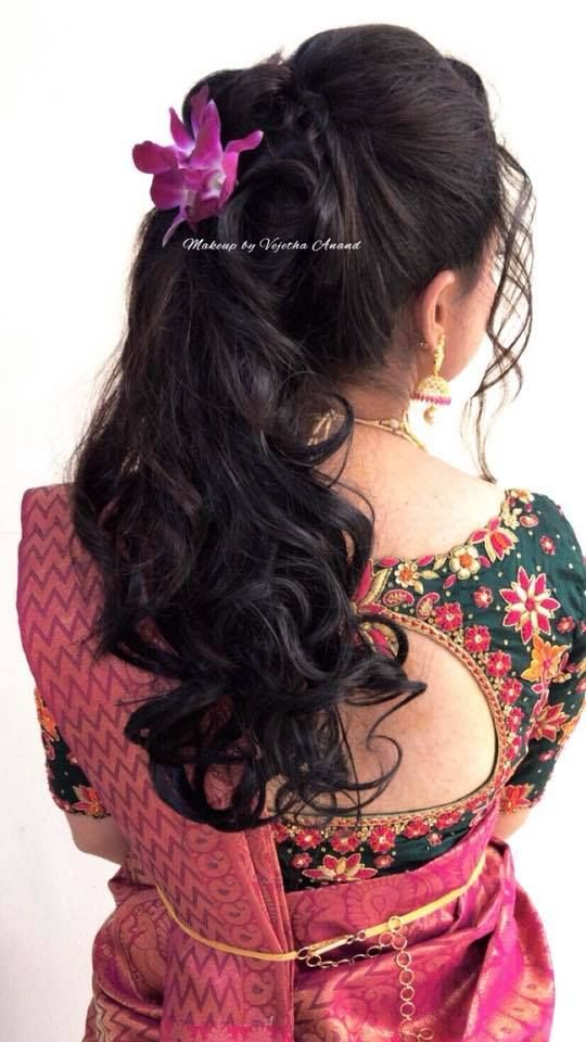 Pretty Bridal Reception Hairstyle By Vejetha For Swank Bridal Updo Curls Saree Blouse Bridal Blouse Designs Wedding Blouse Designs Indian Bridal Hairstyles