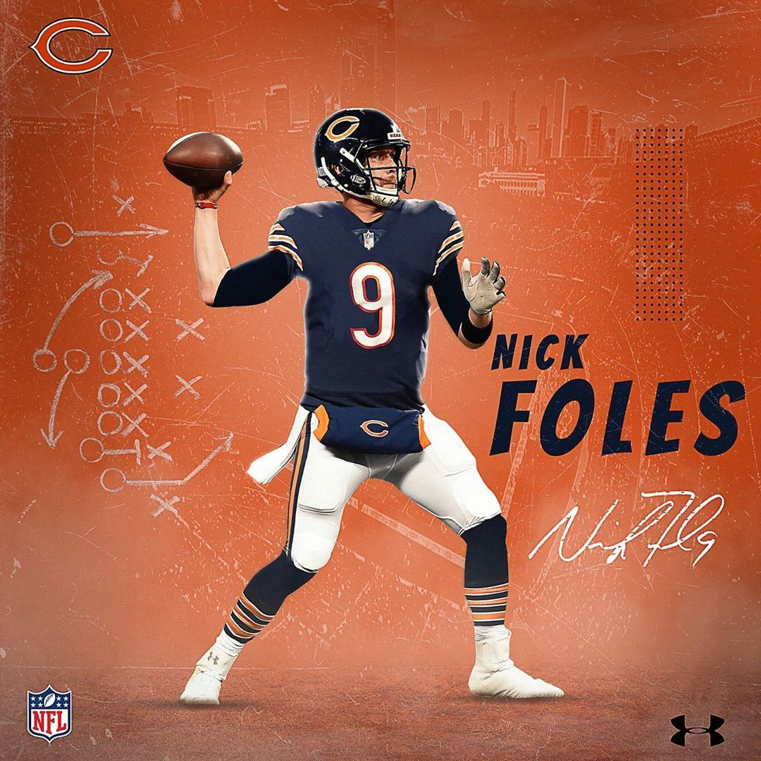 Quinn Harris On Instagram Nick Foles Saint Nick Jersey Swap Nfl Football Chicagobears Bears Beardown Sportart In 2020 Nfl Players St Nick Chicago Bears