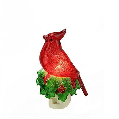 Felices Pascuas Collection 5.25 inch Beaded Red Cardinal on Holly Decorative Christmas Night Light