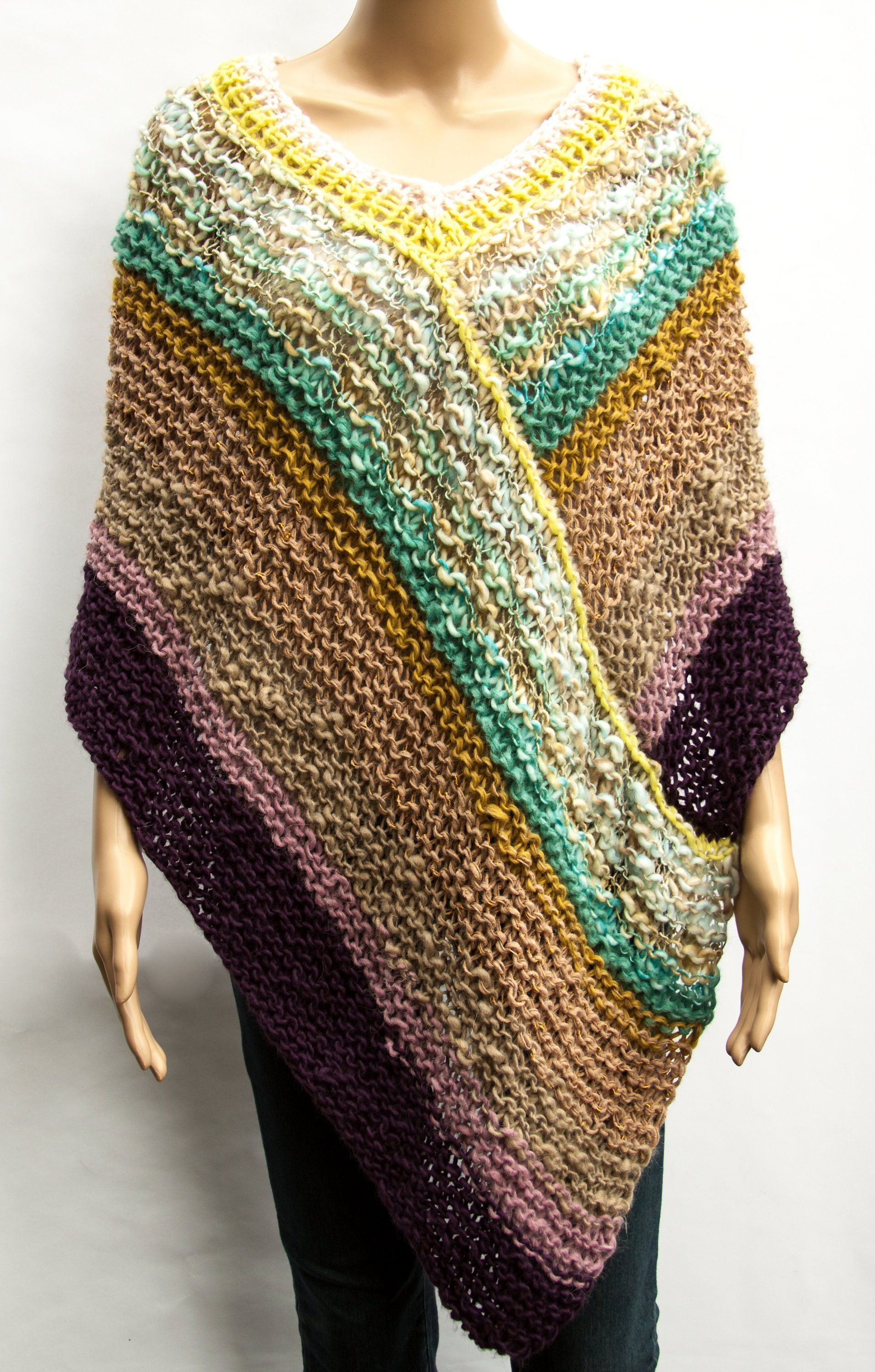 Poncho Boho Hippie Vagabond Oversize Hand knitted Chunky Slouchy knit Stripes multicolor Alpaca Merino wool Mohair
