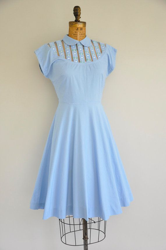 50s Vicky Vaughn dress / vintage 1950s blue by simplicityisbliss, $124.00