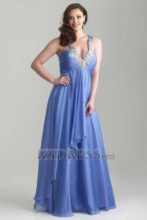 Sheath/Column V-neck Straps Chiffon Prom Dress - IZIDRESS.com at IZIDRESS.com