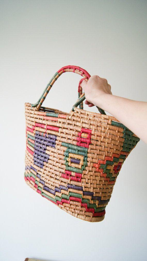 8e70cd12cded7 Vintage Basket Tote. Woven Market Bag. Bird Print. Aztec / Mayan / Tribal Woven  Basket Bag.