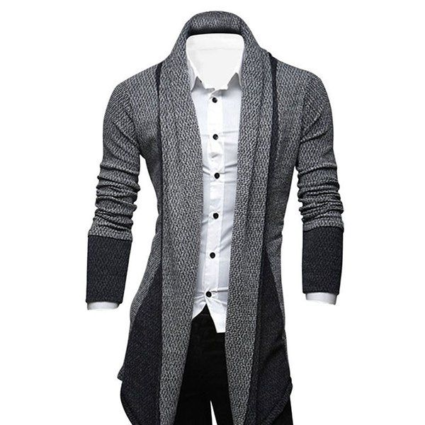 Turndown Collar Longline Color Block Cardigan | Male fashion