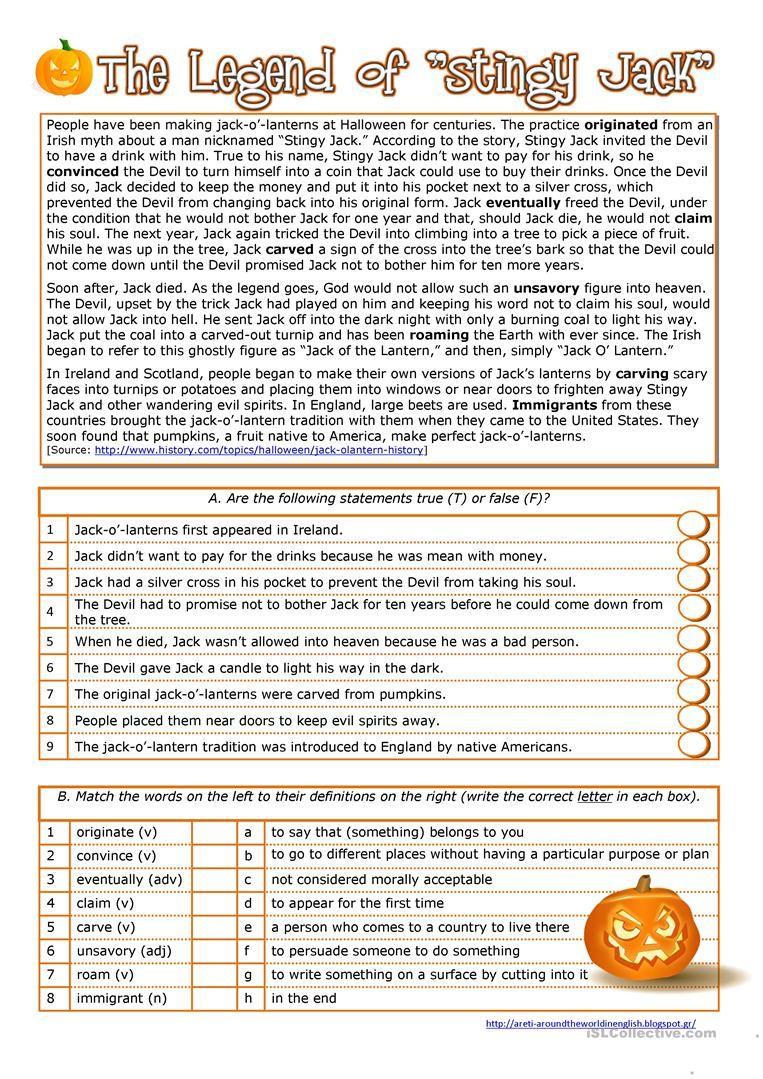 Halloween History Of The Jack Oa Lantern Halloween Reading Comprehension Halloween Worksheets Halloween History [ 1079 x 763 Pixel ]