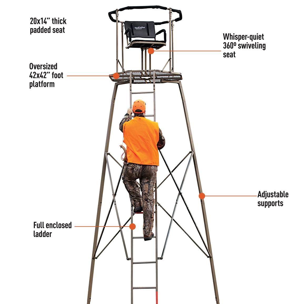 Woodsman Premium 15 Tripod Stand 177511 Tower Tripod Stands At Sportsman S Guide Hunting Stands Tripod Deer Stand Deer Stand