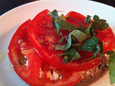 Crostino of heirloom tomato and housemade ricotta from Tomasso in Southborough, MA