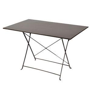 Table de jardin rectangulaire pliante en acier couleur taupe ...