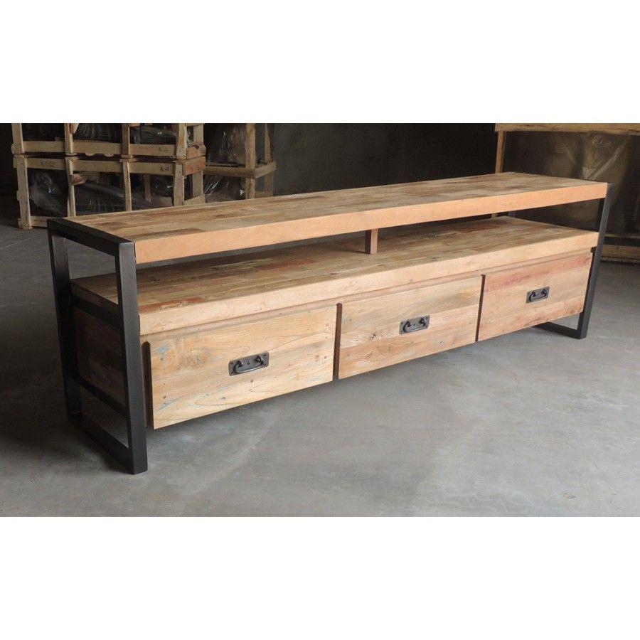 meuble tv bois metal mobilier de salon