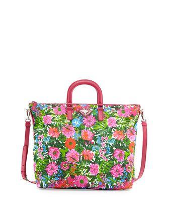 6a32148ccb3d Floral-Print Nylon Tote Bag, Pink Floral (Pink Dis Primule) by Prada at  Bergdorf Goodman.