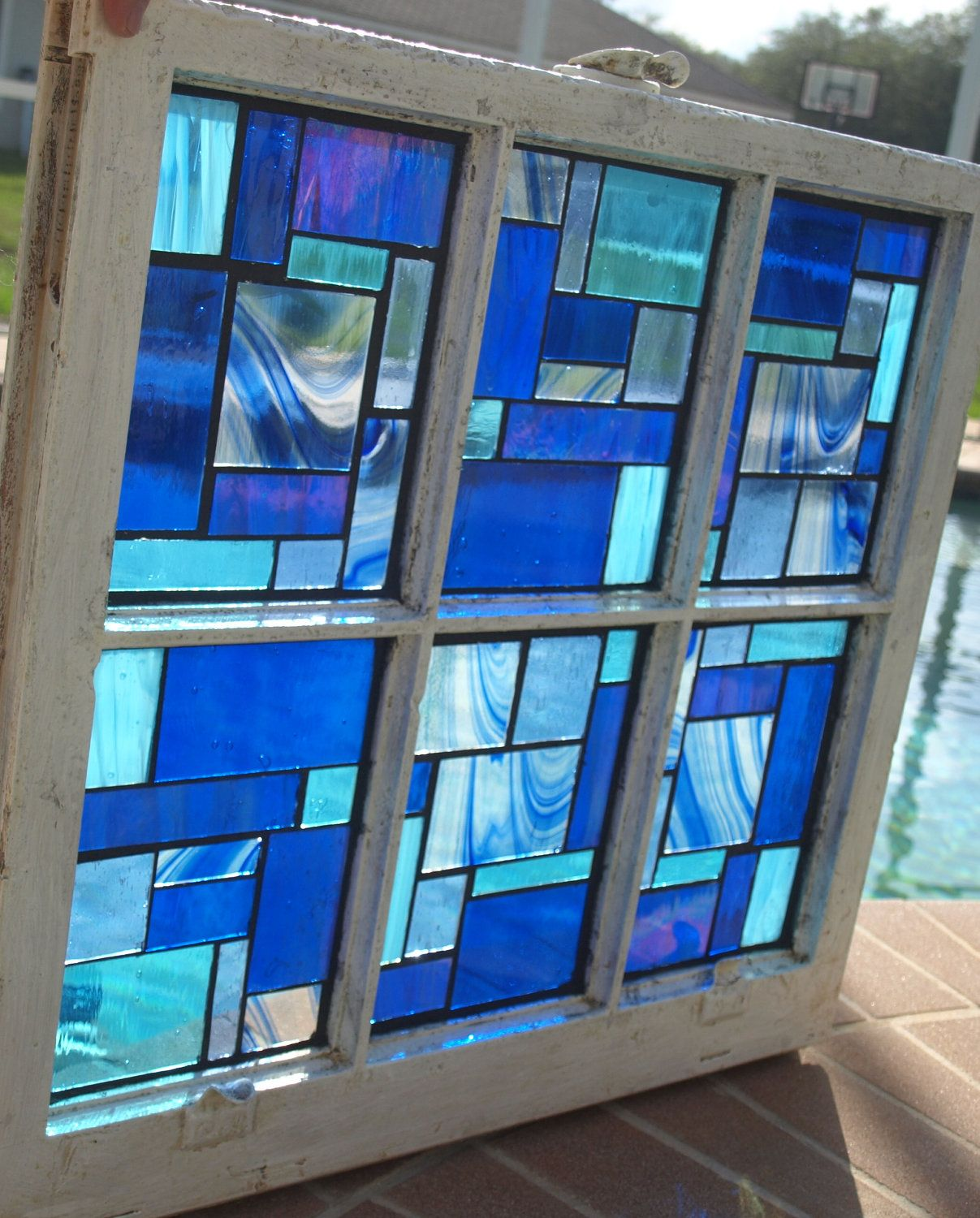 Blue Stained Glass Mosaic Vintage Repurpose Wooden Window Blue