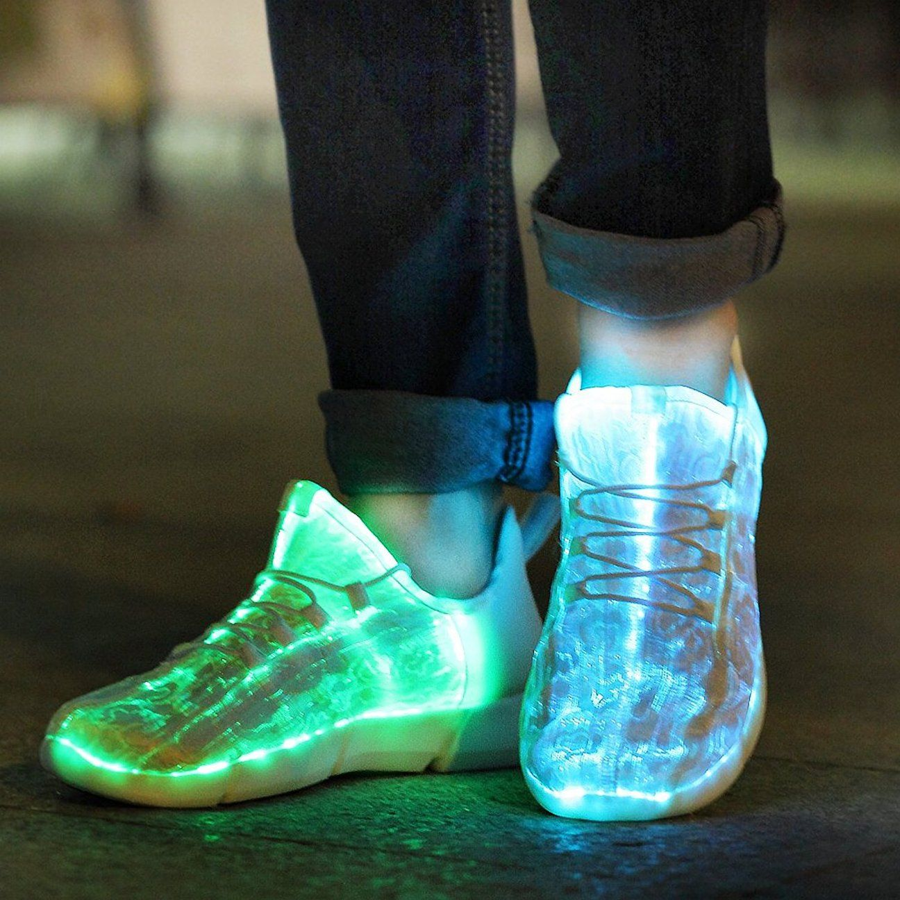 new style 229dc d306d Galaxy Sky Glow in the dark White LED Sneakers in 2019 ...