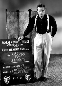 Marlon Brando wardrobe tests for A Streetcar Named Desire, 1950.
