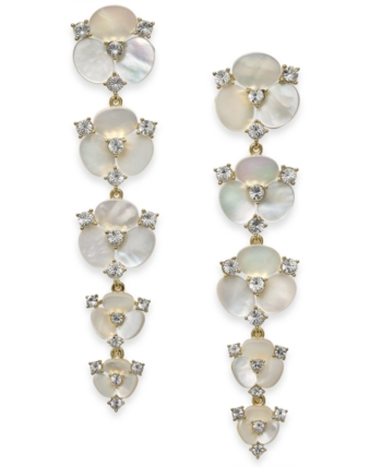 adbace9fcd6d6 Kate Spade Gold-Tone Crystal & Imitation Mother-of-Pearl Flower ...