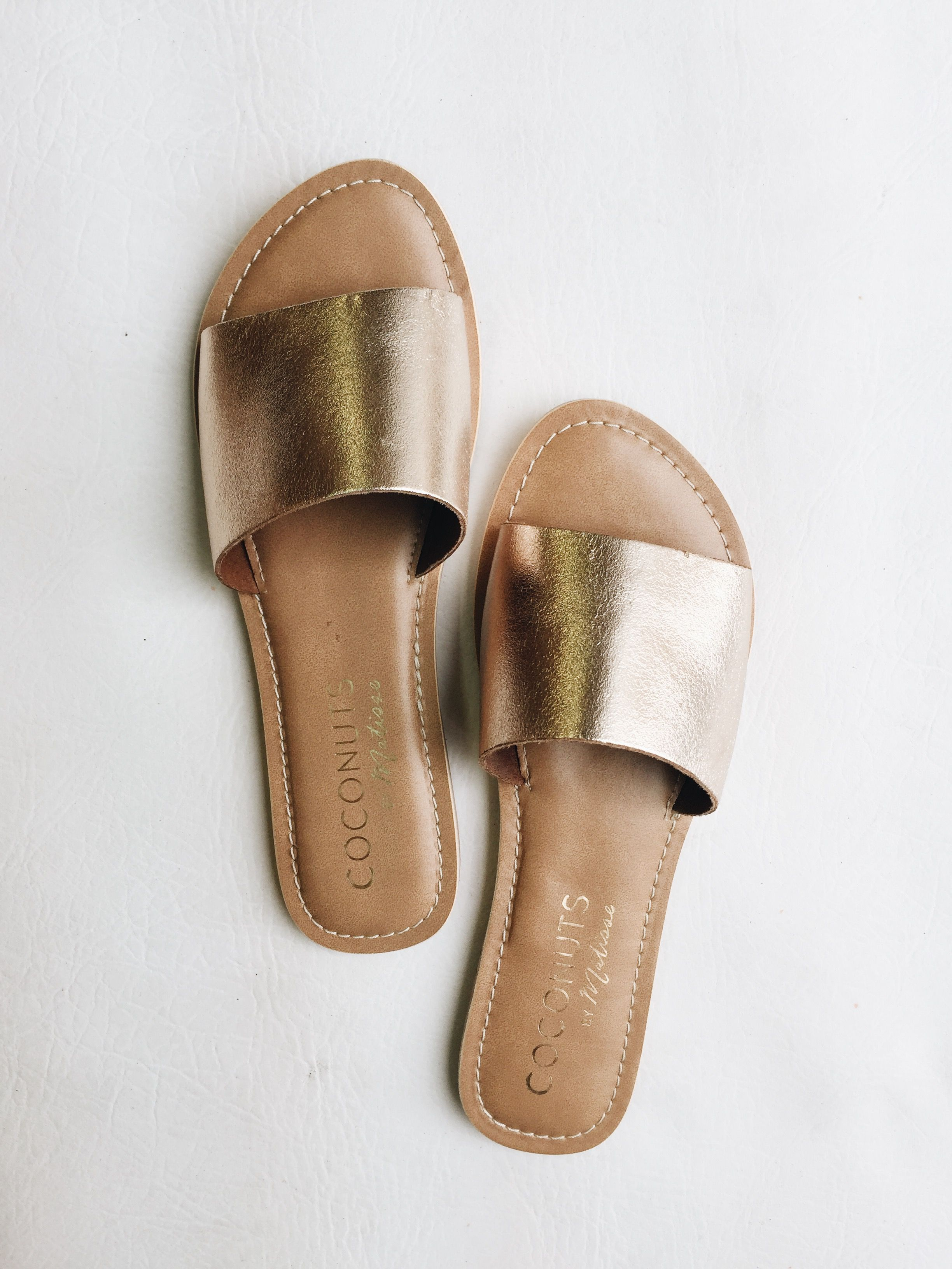 29c2b1dedfb7 Gold Slide Sandal. Slide into style with the Cabana sandal. Fashionable and  cute