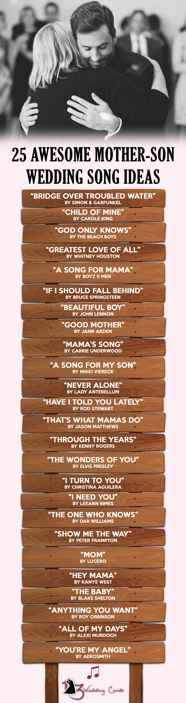 25 Awesome Mother-Son Wedding Song Ideas If you want to make your mother feel super special on your wedding then here is a list of 25 awesome mother son wedding songs that will make your mother go \u2018awe\u2019 with admiration. #musicsongs