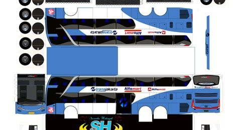 pola papercaraft bus trans jakarta double decker FREE ...