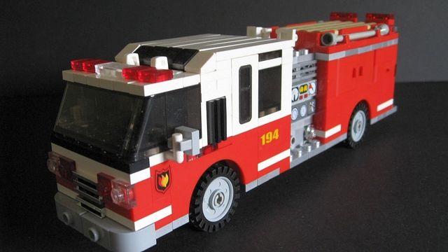 A lego fire engine that looks like a fire engine.