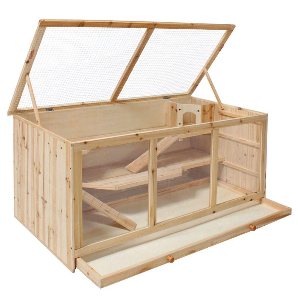 nagerk fig aus holz 112x58x56 5cm kaninchenstall braun und g nstig. Black Bedroom Furniture Sets. Home Design Ideas