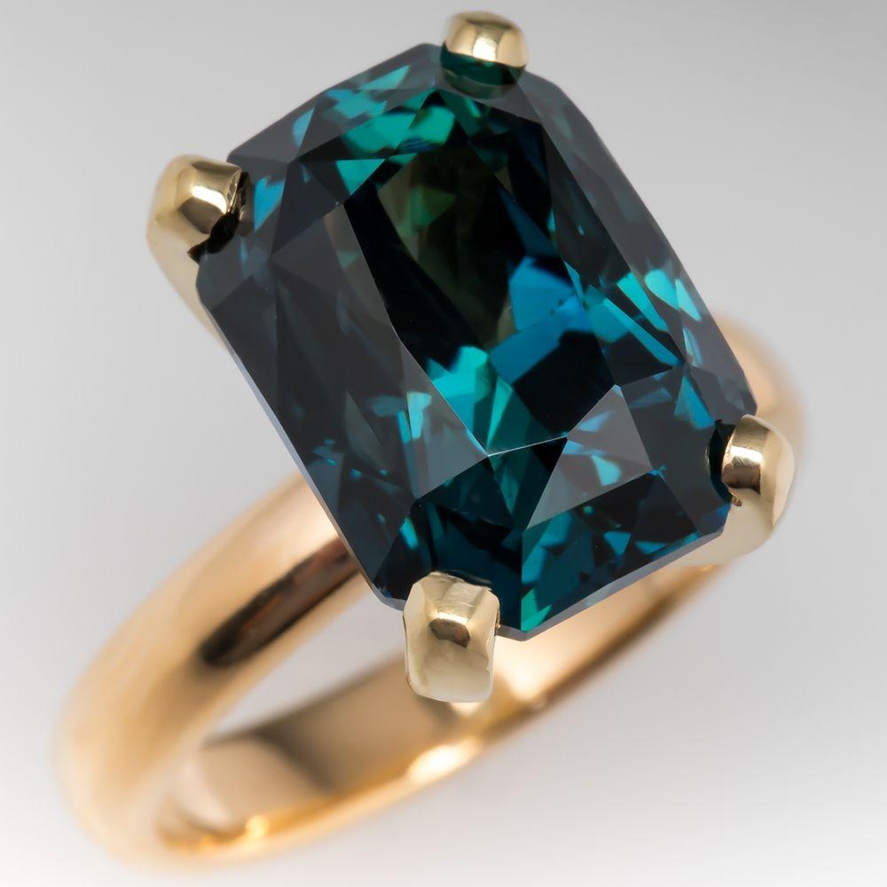 Amazing No Heat 12 Carat Peacock Blue Green Sapphire Cocktail Ring 18k Blue Green Sapphires Green Sapphire Engagement Ring Sapphire Cocktail Ring