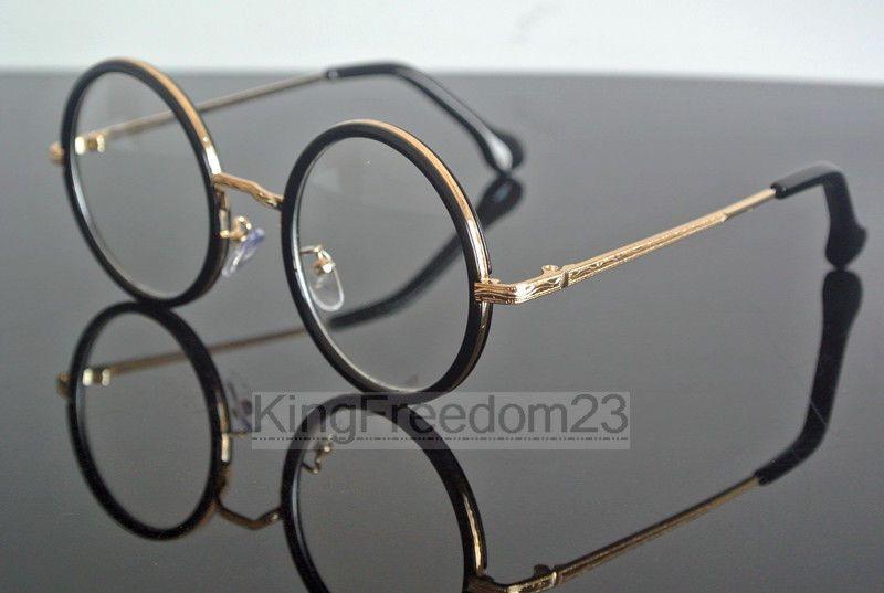 67e1f9655 Vintage 48mm Round Bright Black Gold Eyeglass Frame Full Rim Glasses  Spectacles #eyeglass