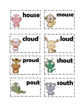 Vowel sound /ou/ ou and ow cards | Teacher Resources ...