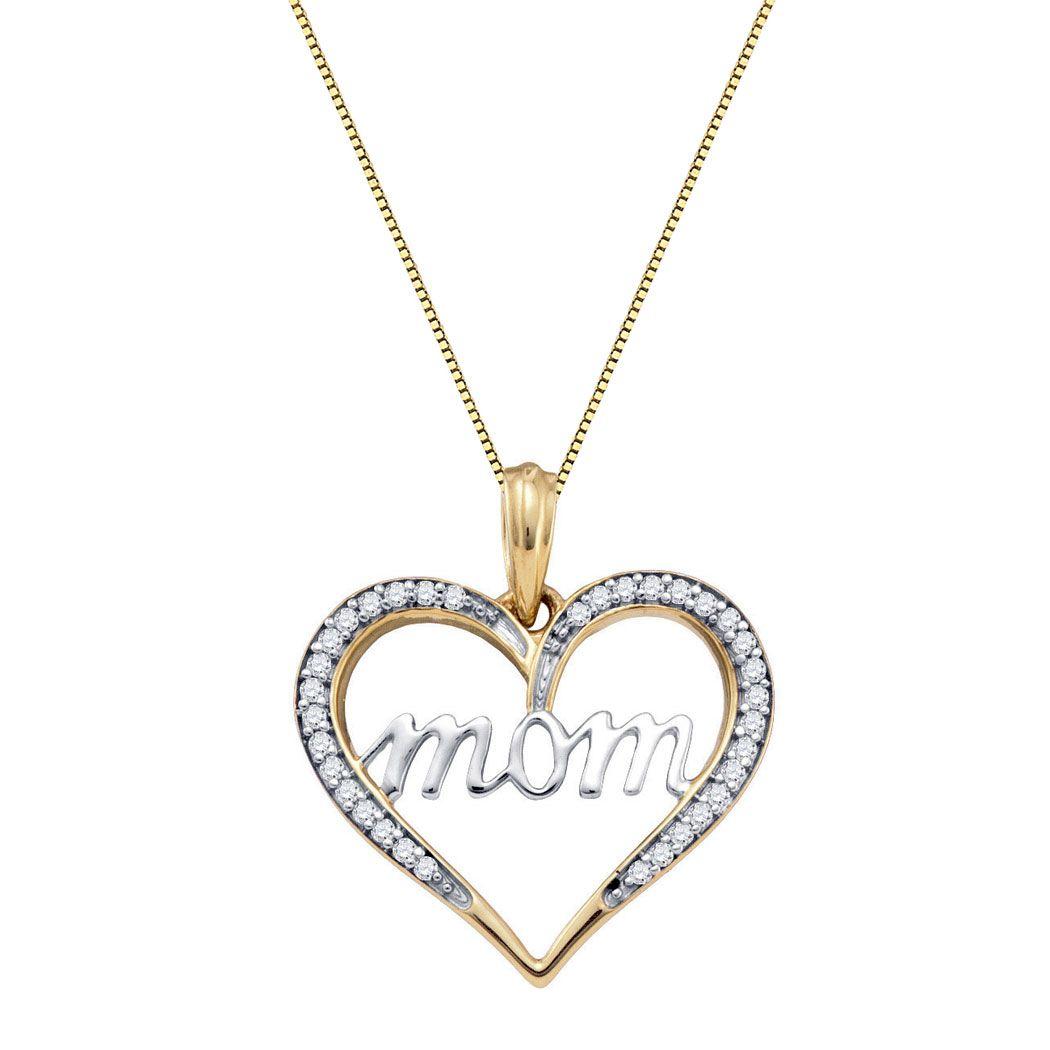 10K Diamond Mom Heart Pendant mothersday mom jewelry pendant