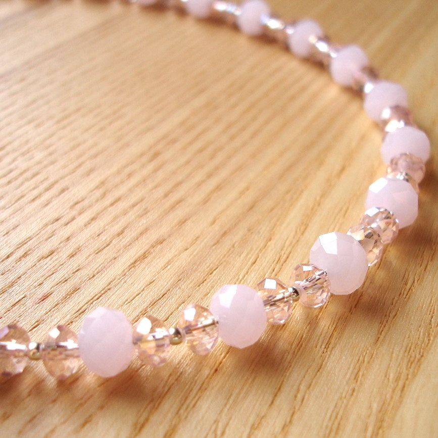 Unique Glass Crystal Necklace - Spring Summer Wedding Jewellery - Bridesmaid Gift - Soft Pink - 18th 21st 30th birthday gift sister daughter by sweetpyroangel on Etsy
