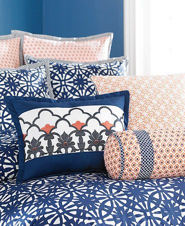 Navy blue coral and white bedding for the master bedroom bedroom ideas pinterest white for Navy blue and coral bedroom ideas