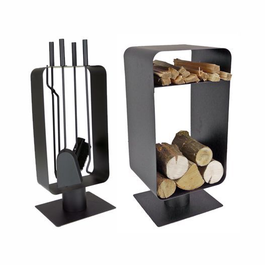 Contemporary Fireplace Accessories That Will Steal The Show. Modern Log  Holders Baskets Racks - Modern Matching Log Holder & Fireside Tools Black Fireplaces
