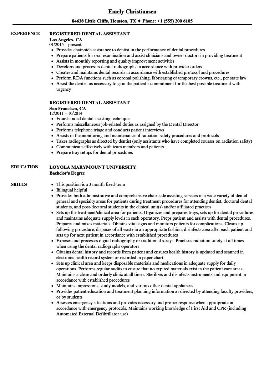 Dental Assistant Job Description For Resume Up To Date Registered Dental Assistant Resume Dental Assistant Job Description Dental Assistant Jobs Assistant Jobs