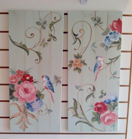Par de Telas 30x70cm Flores Passarinho