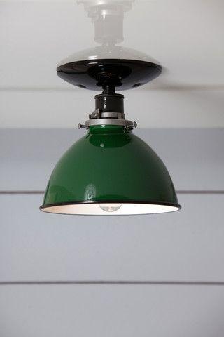 Green Metal Shade Light Semi Flush Mount Lamp Metal Light