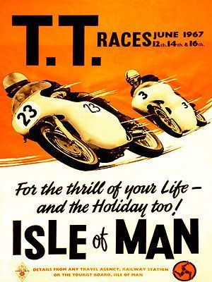 Isle Of Man TT Golden Jubilee Wall Art Reproduction Vintage Motorcycle Poster