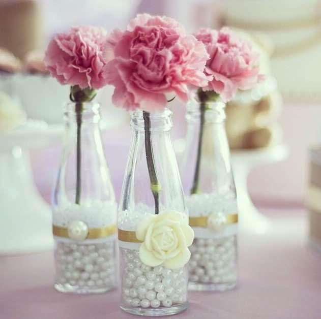 Bellas botella para centro de mesa delicado para a su for Mesas de centro bonitas