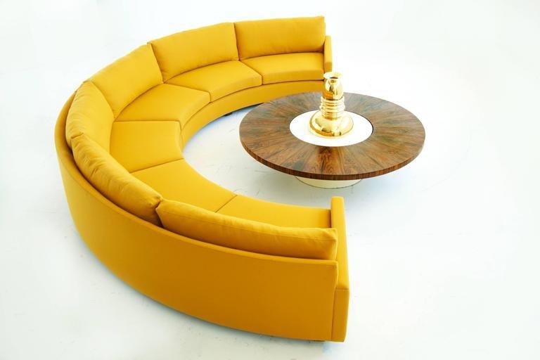 Milo Baughman Semi Circle Sectional Sofa 2 Leather Sectional