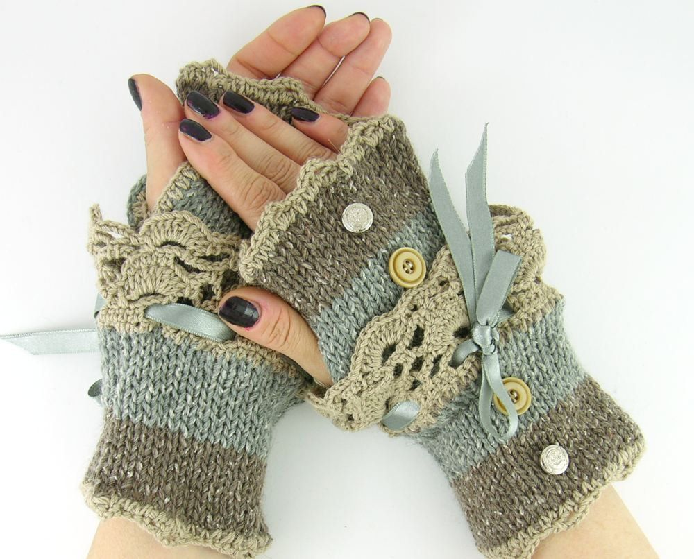 73c060727d9 Knit fingerless gloves arm warmers fingerless mittens women fall winter  grey brown tweed beige lace romantic victorian curationnation.  29.00