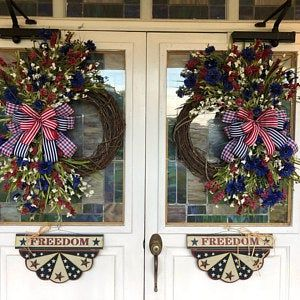 Patriotic wreath, 4th of July wreath, Summer wreath, Floral wreath, Double door, July 4th, Memorial day, Red white and blue wreath,