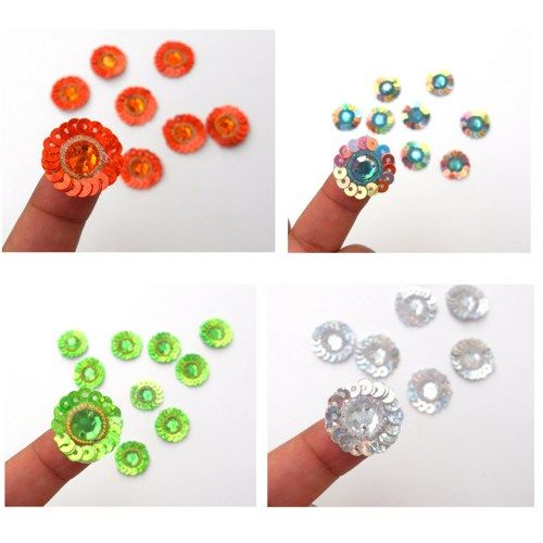 sew-on sequin appliques | Sew on appliques.Iridescent Sequin.Flower Centers Rhinestone Appliques. 9 pairs for $4.15