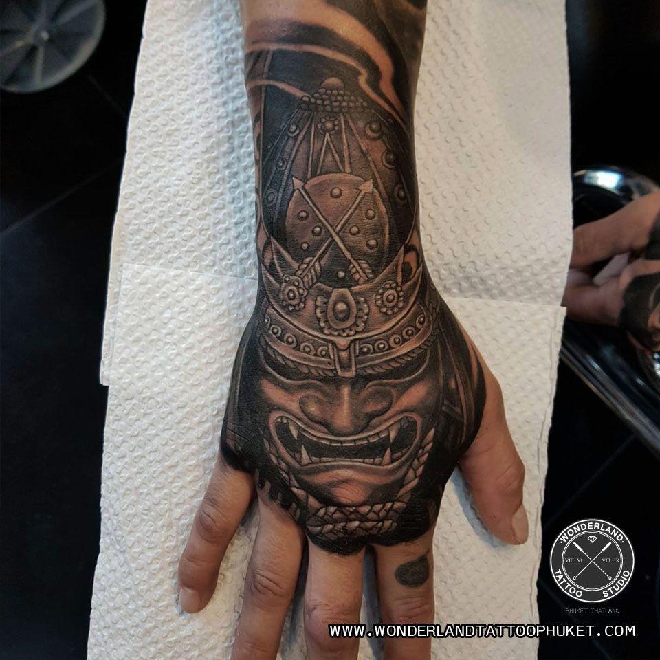 Samurai Tattoo On Hand Hand Tattoos Hand Tattoos For Guys Japanese Hand Tattoos
